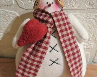 Snowman fleece scarf white gingham