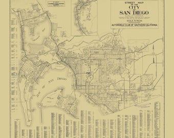 San Diego Bay City Map 1929