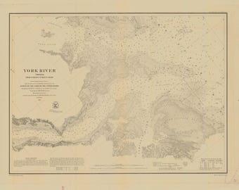 York River Map - Chesapeake Bay Chart - 1871