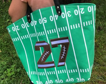 Personalized Football Bag|Football Bag|Football bag with aplique leather football like numbers or letters