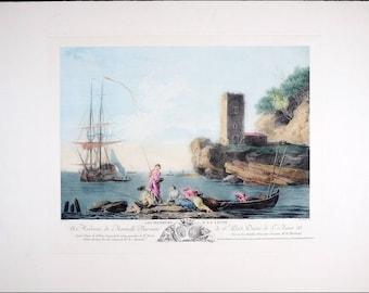 Vintage Copper Plate Etching, Old European Harbor Fishing Scene, Amazing Vintage Print