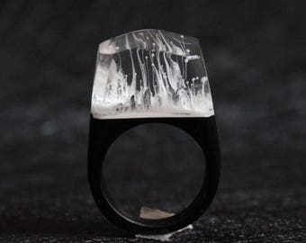 Snowy Mountain Resin Ring Wood, Wood Resin Rings Customized, Handmade Resin Wood Rings R1701003
