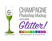 Champagne Flute Mockup Template PSD with Glitter Options