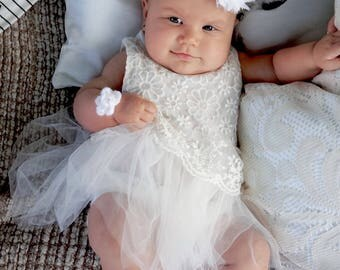 0-3 months baby white christening outfit, lace tulle dress + headband set, photo prop, girls tutu gown