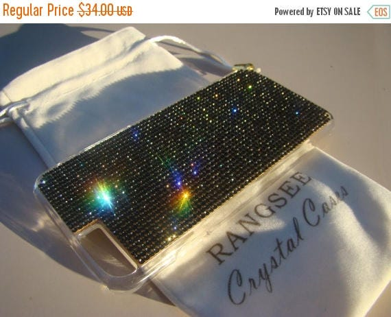 """Sale iPhone 6 / 6s Case Black Diamond Rhinstone Crystals on iPhone 6 / 6s Transparent Clear Case. """"Gold Edition"""" , Genuine Rangsee Crystal C"""