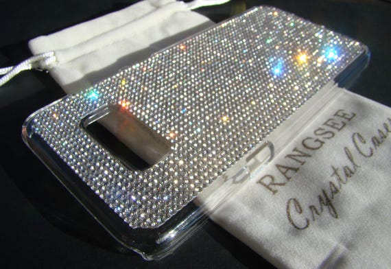 Galaxy S8+  Clear Rhinestone Crystals on Transparent clear  Case. Velvet/Silk Pouch Bag Included, Genuine Rangsee Crystal Cases.