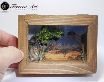 DIORAMA BOX MINIATURE art, landscape, diorama, animals,lion,  pebble art, landscaping art, gift, wedding, decoration