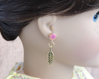 Gold Feather Earrings for American Girl and other 18 inch dolls