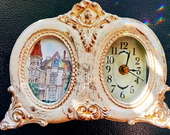 Clock, Vintage Style Clock, Vintage Decor, Clock with a Mini Painting, Small Painting, Home Decor, Gift Ideas, G. Flavel House,