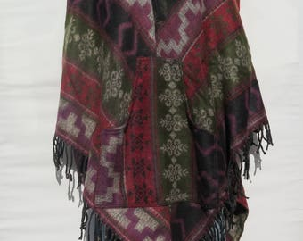 Poncho 2 Button Hood & Pock/et Fringe Boho Bohemian 60s Designer Style Hippie Handmade Himalayan Handloomed Yak Wool Blend Shawl 1 Size 9603