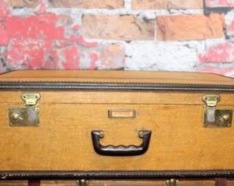 Vintage Striped Tweed Suitcase,Large Tweed Suitcase, Old Suitcases, Old Luggage, Vintage Luggage, Suitcases, Suitcase Photo Prop, Photo Prop