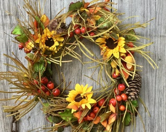 FREE SHIPPING!!-Fall Teardrop - Sunflowers, Berries and Cones Teardrop - Berry Garland-Mixed Berry Garland-Fall Floral -Fall Decor-Sunflower