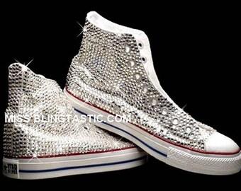 Customised Crystal Embellished Converse Hi-Tops