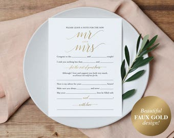 Faux Gold Wedding Mad Libs, Mad Libs Wedding, Wedding Madlibs, Wedding Games, Wedding Advice, Advice Cards, PDF Instant Download #BPB324_20