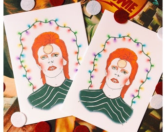 David Bowie / Ziggy Stardust Inspired 5 X 7 Christmas Card