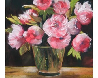 tableau of a bouquet of flowers, pink peonies, size 60 x 80
