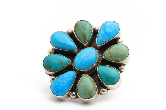 XLg Flower Navajo Handmade Turquoise & Sterling Silver Ring Native American jewelry, bohemian beach wedding.