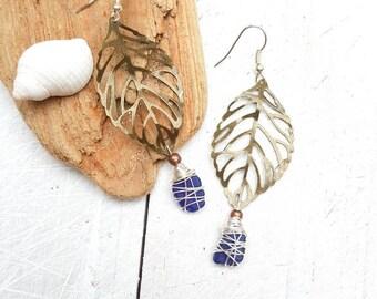 Rare Blue Seaglass & Mixed Metal Earrings