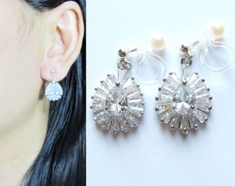 Clear Rhinestone Crystal Clip On Earrings |28B| Cubic zirconia Long Clip on Earrings Wedding Dangle Bridal clip-ons Non Pierced earrings