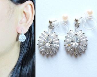 Clear Rhinestone Crystal Clip On Earrings |28B| Cubic zirconia Long Clip on Earrings Wedding Dangle Bridal clip-ons Non Pierced earrings