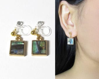 Square Abalone Shell Clip On Earrings |34F| Gold Drop Dangle Clip On Earrings, Minimalist Non Pierced Clip-ons, Invisible Long Clip Earrings