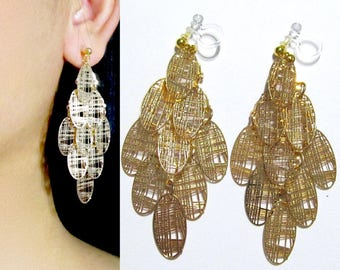 Filigree Gold Leaves Dangle Clip-On Earrings |36L| Tiered Layering Boho Long Clip Earrings Invisible Non Pierced Chandelier Clip-ons earring