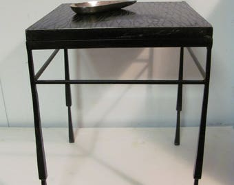 Modern Rustic Brass and Wrought Iron End Table