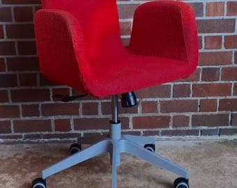 Cool Nubby Red Mid Century Modern Swivel Chair