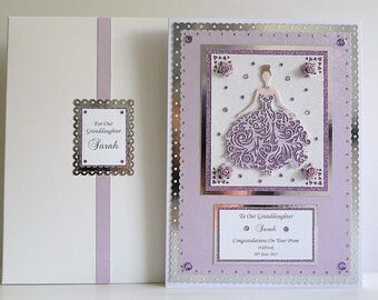 Prom Night Card for Daughter/Granddaughter etc Boxed Personalised All colours available A4 Large Size