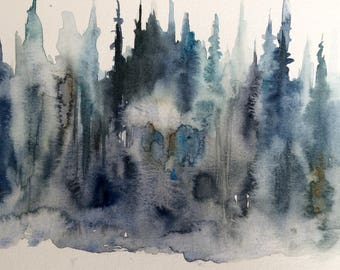 Pine trees, semi abstract landscape, wet in wet, Misty forest, pine forest, forest painting, Misty pines,Tree painting, forest painting