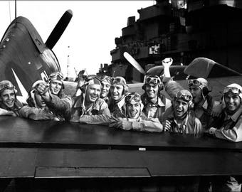 Poster, Many Sizes Available; Navy Pilots After Marshall Islands Attack Uss Lexington Nov 1943