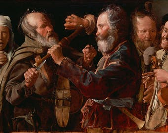 Poster, Many Sizes Available; The Musicians Brawl By Georges De La Tour 1625