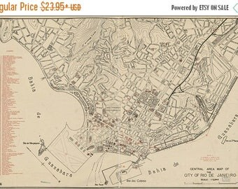 20% Off Sale - Poster, Many Sizes Available; Map Of Rio De Janeiro Brazil 1941