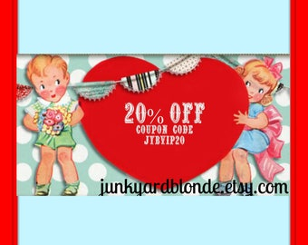 Coupon Code, EXTRA 20 Percent Discount with Coupon,JYBVIP20,Click for Details,Sale,vintage,Sale,20off ,gifts