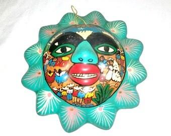 Vintage Mexican Folk Art, Terra Cotta Sun, Folk Art Wall Hanging, Mexico, Clay Sun,Vintage Pottery, Primatives,Mexican Sun, Bohemian,1970s