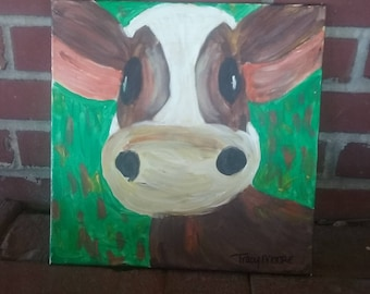 Cow painting, animal artwork, wildlife art, pet portrait, original artwork, 12x12 acrylic art, canvas art, quirky art, whimsical painting