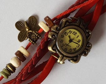 Decorative watch (not functional) red leather suede decoration to wear with scarfs Les Creations Manon