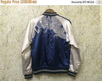Birthday Sale Vintage Riversible Embroidered Japanese Souvenirs Sukajan Varsity Jacket, Dragon Design and Skull Design, K-Pop, J-Pop Size M