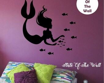 Mermaid Wall Decal fishes Sticker Art Decor Bedroom Design Mural interior design kids room ocean sea beach home decor