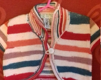 Hand knitted bolero, knitted to fit a baby girl aged 2-3 years old