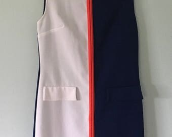 1960s Red White And Blue Dress/Sleeveless Dress/Vintage Dress/4th of July/Independence Day/Patriotic