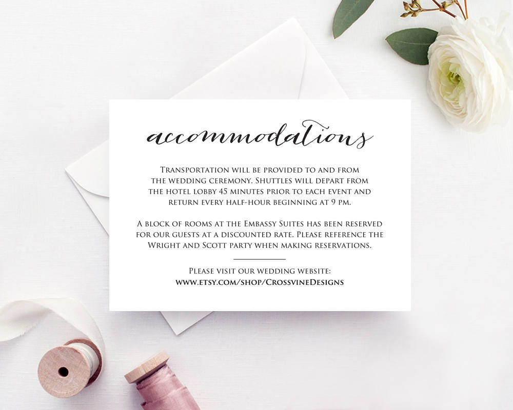 accommodations card insert wedding information card template
