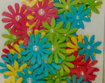 Multi-Color DAISY PAPER FLOWERS, Faux Bead Centers, Embellishments, Scrapbooking,Cards,Journals, Craft Projects, Collage,Stamping,Stationery