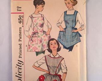 Vintage 1950s Simplicity One Yard Full Apron Pattern 3702 One Size, 3 Styles