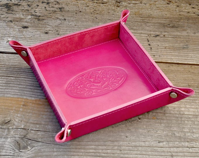 Leather Valet Tray, personalized gift, Hot Pink