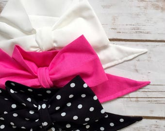 Gorgeous Wrap Trio (3 Gorgeous Wraps)- Blanc, Cherry Blossom & Noir Dots Gorgeous Wraps; headwraps; fabric head wraps; bows