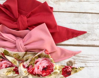 Gorgeous Wrap Trio (3 Gorgeous Wraps)- Brick, Vintage Pink & Olive Floral Gorgeous Wraps; headwraps; fabric head wraps; bows