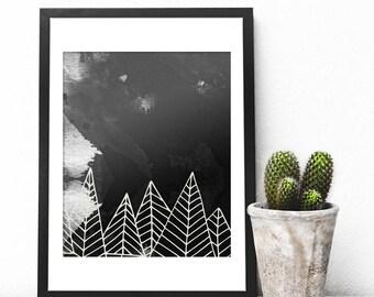Mountain Art Print, Scandi Print, Modern Watercolor Landscape, Mountain Decor, Black and White Artist Prints, Digital Download, Scandi Decor