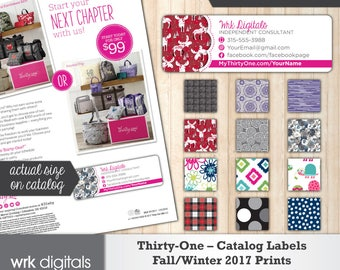 Thirty-One Catalog Labels, Thirty One Consultant, Fall Winter 2017 Prints, Direct Sales, PRINTABLE