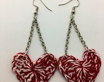Cute Crochet Heart Earrings, Valentine's Day Earrings, Heart Earrings, Valentine's Day Gift, Red And White Heart Earrings, Crochet Earrings